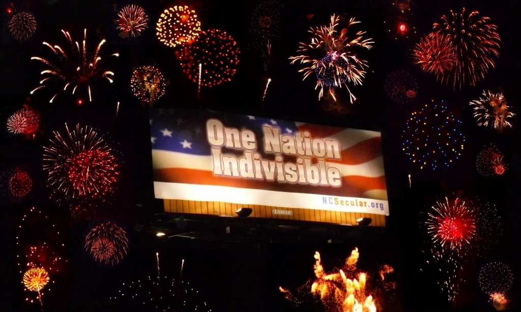 Photoshopped Image of the billboard at night with Fireworks